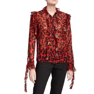 Stylekeepers red black leopard print ruffle blouse